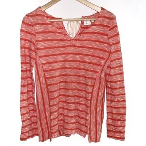 Anthro Postmark Small Orange Red Striped Top